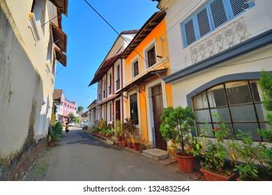 Colorful portuguese houses in Panaji, Goa.