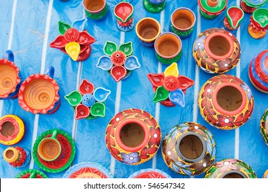 Colorful potteries made of clay, handicrafts on display during the Handicraft Fair in Kolkata , earlier Calcutta, West Bengal, India. It is the biggest handicrafts fair in Asia.