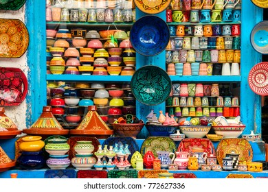 colorful pottery at moroccan shop