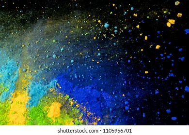 colorful powder pigments composition like cosmic landscape