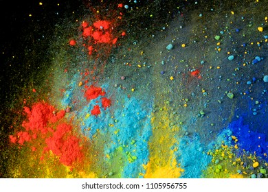colorful powder pigments composition like cosmic landscape