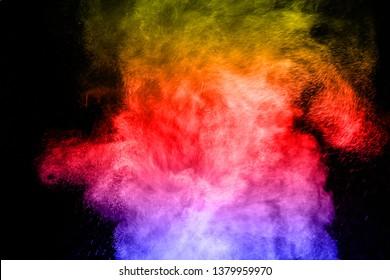 colorful powder splash isolated on black background