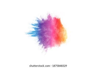 Farbiges Pulver splash auf weißem Hintergrund.