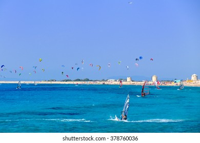 Colorful power kites span across the sky from kite-surfers in Lefkada Greece