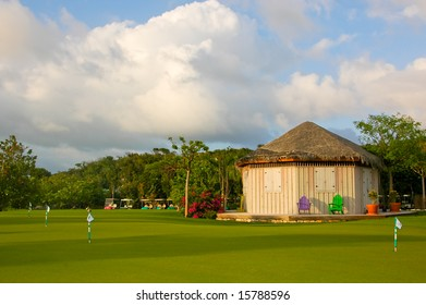 Colorful practice green from a golf course in the Bahamas.