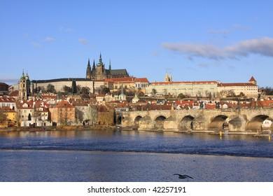 Colorful Prague gothic Castle on the River Vltava with Charles Bridge