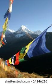 colorful prayer flags in himalaya region, nepal