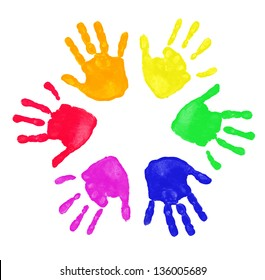 Colorful prints of hand