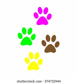 Colorful Prints paw prints animal. Web icon, color paw dog. The imprint of paws of a pet. Imprint on white background.
