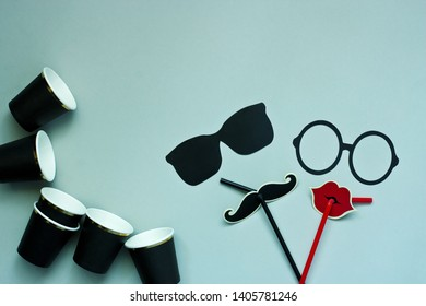 Colorful props for party. Carnival accessories set. Paper glasses, lips, moustaches  on   drinking straw