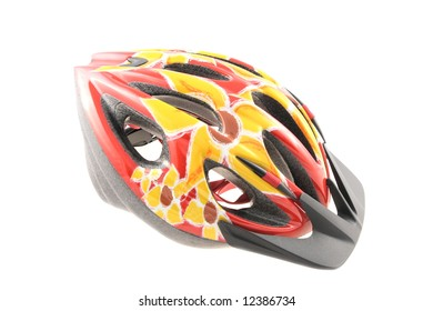 Colorful protective bicycle helmet isolated on white background