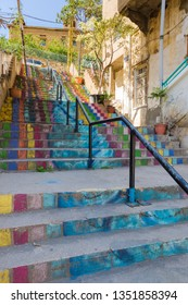 Colorful public staircase in residential area Achrafieh, Beirut, Lebanon.