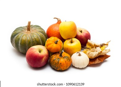 Colorful pumpkin and squash and apples