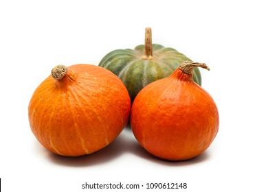 Colorful pumpkin and squash, Red Kuri, Kabocha,