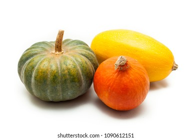 Colorful pumpkin and squash, Red Kuri, Kabocha, Spaghetti