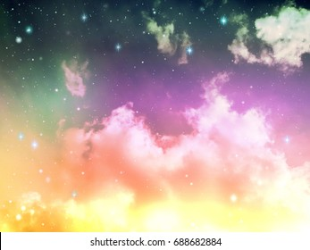Colorful purple and yellow  light in space night sky with cloud and star, abstract science background