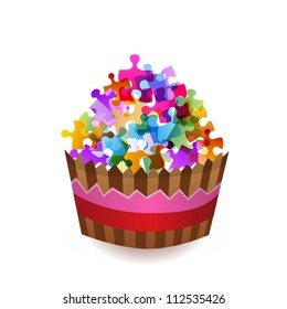 colorful puzzle cup cake