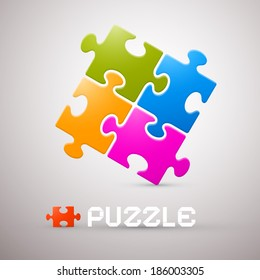 Colorful Puzzle Illustration on Grey Background