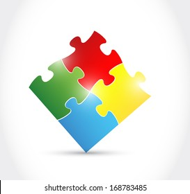 colorful puzzle illustration over a white background