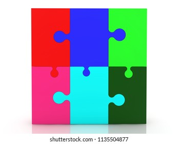 Colorful puzzle on white.3d illustration