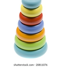 Colorful Pyramid of Stacked Circular Blocks Isolated on White