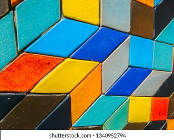Colorful quadrilateral ceramic tile