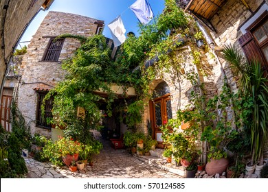 Colorful quiet backyard in the village of Lefkara. Larnaca District, Cyprus.