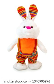 Colorful rabbit plush doll isolated on white background. Rabbit plush stuffed puppet on white backdrop. Colored stuffed rabbit toy. Easter Bunny. Easter Hare.