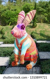 Colorful rabbit puppet.