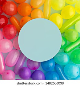 Colorful rainbow balloon background with space for copy