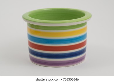 colorful  rainbow bowl  on white background