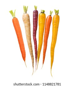 Colorful Rainbow carrots isolated on white background