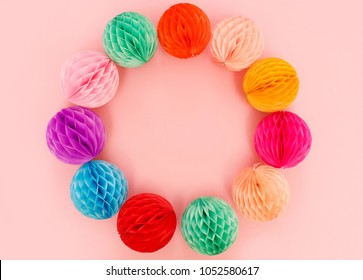 Colorful rainbow circle of festive balls. Paper fan