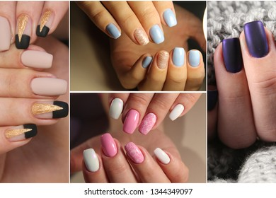 Colorful rainbow collection of nail designs for summer