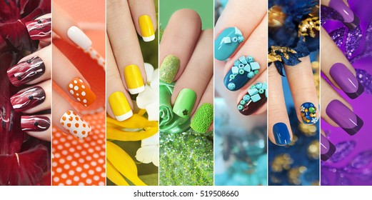 Colorful rainbow collection of nail designs for summer and winter
