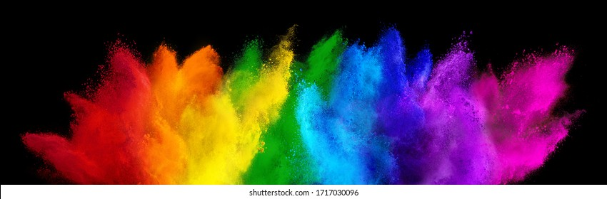 colorful rainbow holi paint color powder explosion isolated on dark black wide panorama background. peace rgb beautiful party concept