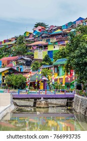 The colorful rainbow houses in Kampung Pelangi in Randusari in South Semarang in Java Indonesia