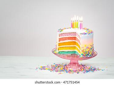 Colorful rainbow layered Birthday cake