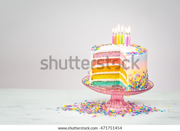 Miraculous Colorful Rainbow Layered Birthday Cake Stock Photo Edit Now Birthday Cards Printable Nowaargucafe Filternl