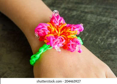 Colorful Rainbow loom bracelet rubber bands fashion