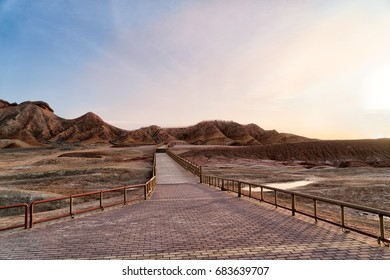 Colorful or Rainbow mountain is a new travel destination in Zhangye, Gansu - China