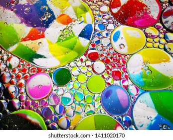 colorful rainbow spectrum oil bubbles macro abstract textures