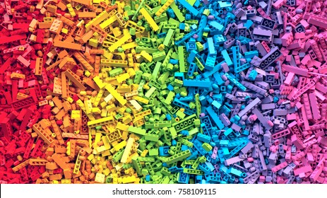 Lot of colorful rainbow toy bricks background. Educational toy for children. 3D Rendering.