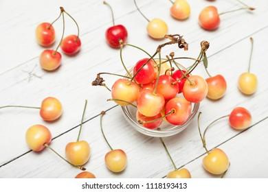 Colorful rainier cherry, sweet delicious fruit.