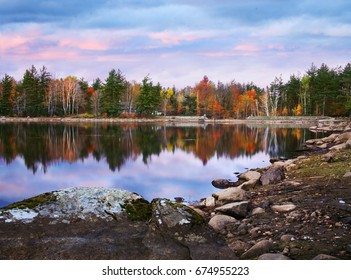A Colorful And Rainy Autumn Evening At Loon Lake, Adirondack Mountains, New York, USA