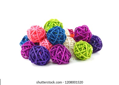 colorful rattan ball isolated on white background