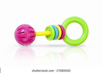 Colorful rattle baby toy isolated on white
