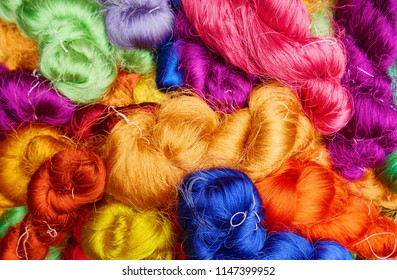 Colorful of Raw Thai Silk for weaving