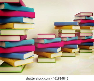 colorful real books on a white background. 3D illustration. Vintage style.