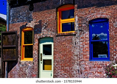 The colorful rear of a building in the town of Roslyn, Washington